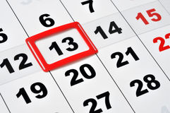 Friday the 13th. Macro of calendar showing friday the 13th royalty free stock images
