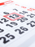 Friday 13th. Is framed on the calendar royalty free stock image