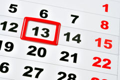 Friday the 13th. Macro of calendar showing friday the 13th royalty free stock image
