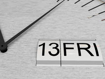 Friday the 13th. Date Friday the 13th or thirteenth on face of clock Royalty Free Stock Photos