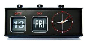 Friday 13th!. Retro style clock displaying the ominous date Friday 13th royalty free stock image