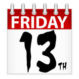 Friday 13th Calendar Icon. An illustration of a calendar icon for the unluckiest day of the year, Friday the 13th Royalty Free Stock Photo