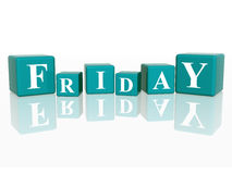 Friday in 3d cubes. 3d blue cubes with letters makes friday Stock Image