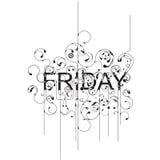 Friday. Illustration of swirly design letters Stock Image