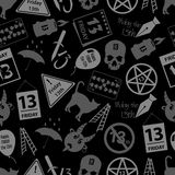 Friday the 13 bad luck day icons seamless dark pattern eps10 Royalty Free Stock Images