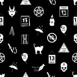 Friday the 13 bad luck day icons seamless pattern eps10 Royalty Free Stock Image
