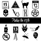 Friday the 13 bad luck day icons set eps10 Royalty Free Stock Photography
