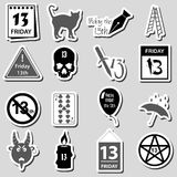 Friday the 13 bad luck day stickers set eps10 Royalty Free Stock Photos