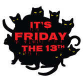 Friday 13 with black cats. Card for Friday 13 with black cats Stock Photo