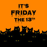 Friday 13 with black cats. Halloween card for Friday 13 with black cats Royalty Free Stock Photo