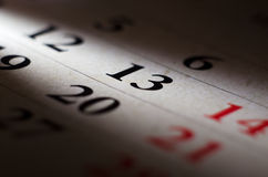 Friday 13 calendar Stock Images