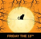 Friday 13 card with black cat sitting on string. Full moon in background. Vector illustration Royalty Free Illustration