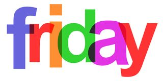 Friday colorful day of the week -. Friday colorful day of the week – stock Royalty Free Stock Image