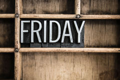 Friday Concept Metal Letterpress Word in Drawer Stock Images