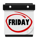 Friday Day Wall Calendar Reminder Weekend Plan Word Royalty Free Stock Image