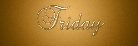 Friday day of the week text title background design. For wallpaper stock image