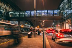 Friday, December 22nd, 2017, Dublin Ireland - light trails and blurred people moving outside of Terminal 2. Of Dublin Airport during the Christmas holiday Stock Photos