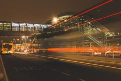 Friday, December 22nd, 2017, Dublin Ireland - light trails and blurred people moving outside of Terminal 2. Of Dublin Airport during the Christmas holiday Royalty Free Stock Photos