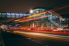 Friday, December 22nd, 2017, Dublin Ireland - light trails and blurred people moving outside of Terminal 2. Of Dublin Airport during the Christmas holiday Stock Images