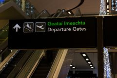 Friday, December 22nd, 2017, Dublin Ireland - signs inside of Terminal 2 of Dublin Airport Royalty Free Stock Photography