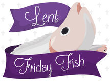 Friday Fish with Ribbons for Lent Celebration, Vector Illustration. Poster with fish design decorated with a purple ribbon for Friday fish and cross pattern for Stock Image