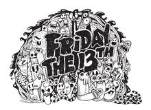Friday 13 grunge illustration. With doodle ghost background Royalty Free Stock Photo