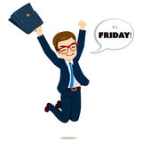Friday Happy Jumping Businessman Royalty Free Stock Images