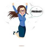 Friday Happy Jumping Businesswoman Royalty Free Stock Photos