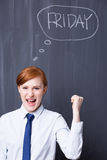 Friday is here - let's shout yeah! Stock Photo