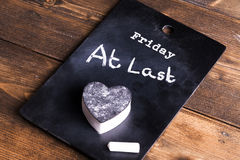 Friday at last blackboard concept Royalty Free Stock Image