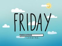Friday loading word on sky and cloud watercolor painting illustration stock illustration
