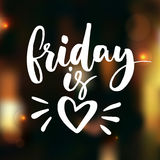 Friday is love. Funny saying about work, office and weekend. Vector white lettering. On dark blurred background with lights and bokeh. Happy friday Royalty Free Stock Photo