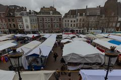 Friday market in Maastricht the biggest in the Euregion stock photography
