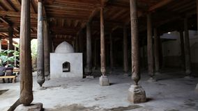 Friday Mosque Juma masjid in the Khivan fortress Ichang-Kala. Khiva. Uzbekistan. Friday Mosque Juma masjid in the Khivan fortress Ichang-Kala. Khiva Uzbekistan stock video