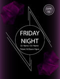 Friday night party.Poster template.Vector illustration Royalty Free Stock Photo