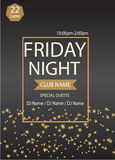Friday night party.Poster template.Vector illustration Stock Photo