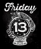 Friday 13 numerals in a Crystal Ball illustration. Stock Photography