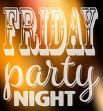 Friday party night quote. Square card with label in different fonts on night city lights unfocused background Royalty Free Stock Photo