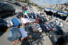 Friday Prayer in Silwan Stock Image