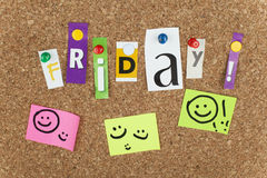 Friday. Single letters pinned on cork noticeboard stock image