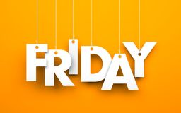 Friday. Text on the string Stock Image