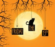 Friday the 13th background with black cat. Full moon in background. Hand lettering. Vector illustration stock illustration