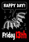 Friday 13th with bat drawing. 13 Friday unlucky day. Cute bat. Bat clipart. Vector EPS10 Stock Image