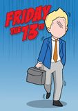 Friday the 13th and businessman. An illustration of superstitious businessman about friday the 13th Royalty Free Stock Image