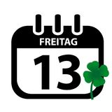 Friday 13th Calendar With Green Clover - Black Vektor Illustration. German Word Freitag - Isolated On White Background Stock Images