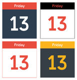 Friday 13th calendar sheets set. Set of 4 isolated calendar sheets with dat Friday 13th Royalty Free Stock Image