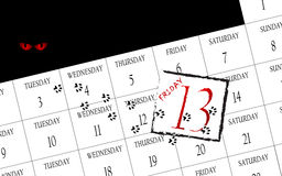 Friday 13th calendar. White background with calendar showing friday 13th Royalty Free Stock Images