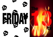 Friday the 13th  card. Background for friday 13 with skulls and flames Royalty Free Stock Photo