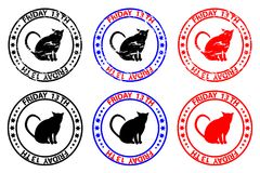 Friday the 13th. Cat - grunge rubber stamp - black and red, Friday thirteenth, Friday 13 - sticker Royalty Free Illustration
