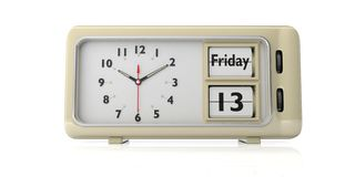Friday the 13th date on old retro alarm clock, white background, isolated, 3d illustration. Friday the 13th date, text, on old retro vintage alarm clock against vector illustration
